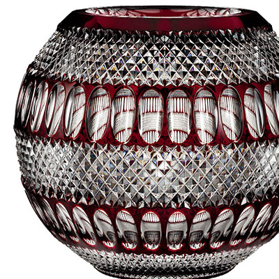 "Waterford Crystal, House of Waterford Colleen 60th Anniversary, Limited Edition 12"" Large Ruby Crystal Rose Bowl"