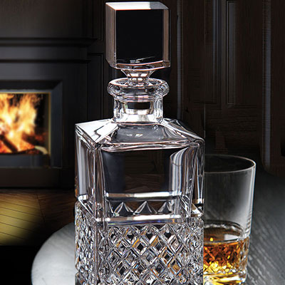 Cashs Ireland, Cooper Single Malt Whiskey Square Crystal Decanter
