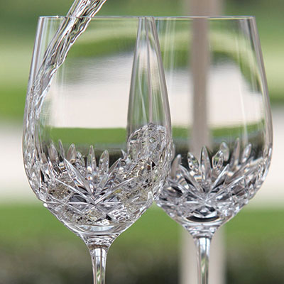 Cashs Ireland, Annestown Crystal White Wine Glass, Pair