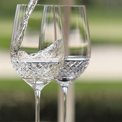 Cashs Ireland, Cooper Crystal White Wine Glasses, Pair