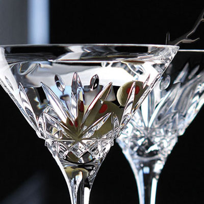 Cashs Ireland, Annestown Crystal Martini Crystal Glasses, Pair