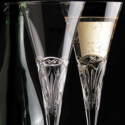 Cashs Ireland, Celtic Ring Toasting Crystal Flutes, Pair