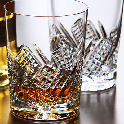 Cashs Crystal Harvester Single Malt Whiskey Glasses, Pair