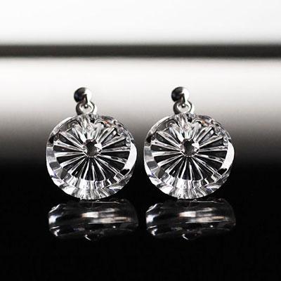 Cashs Ireland, Crystal Wild Irish Rose Pierced Earrings Pair