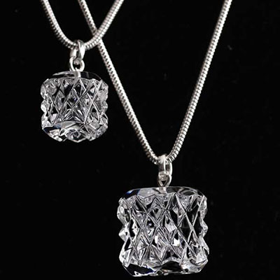 Cashs Ireland, Kerry Bead Crystal Necklace, Sterling Silver Snake Chain, Small
