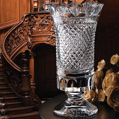 "Cashs Ireland, Hawthorne Fairy 8"" Tulip Crystal Vase"