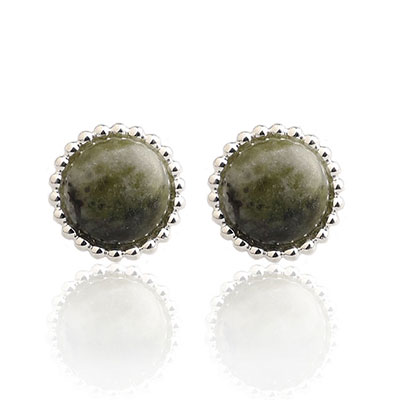 Cashs Ireland, Connemara Marble Button Earrings, Pair