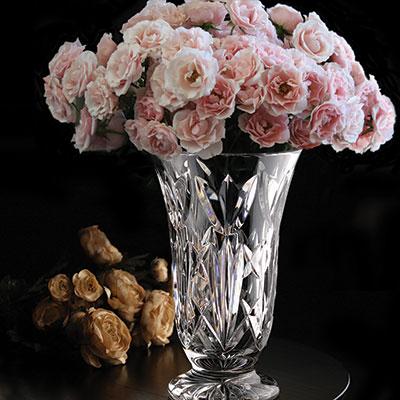 "Cashs Ireland, 10"" Bellflower Footed Bouquet Crystal Vase"