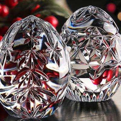 Cashs Ireland, Crystal Christmas Egg Set