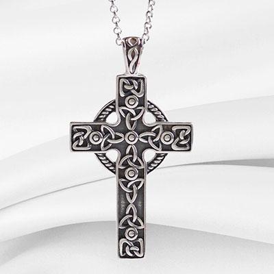 Cashs Ireland, Sterling Silver Filigree Irish Celtic Cross Pendant Necklace