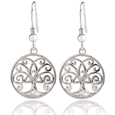 Cashs Ireland, Sterling Silver Tree of Life with Trinity Knot Pierced Earrings, Pair