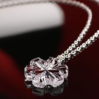 Cashs Crystal Snowflake Pendant Necklace, Medium
