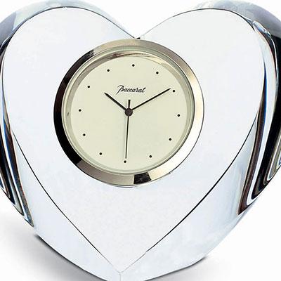 Baccarat Crystal, Heart Clear Crystal Clock