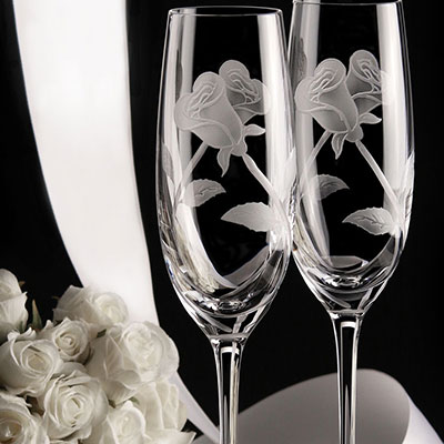 Cashs Ireland, Art Collection Entwined Roses Crystal Flute Pair, Limited Edition