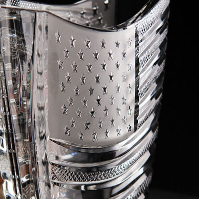 Cashs Ireland, Art Collection Stars and Stripes, American Flag Crystal Vase, Limited Edition