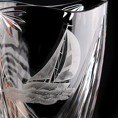 Cashs Ireland, Art Collection Sailing Series Windward Crystal Vase, Limited Edition