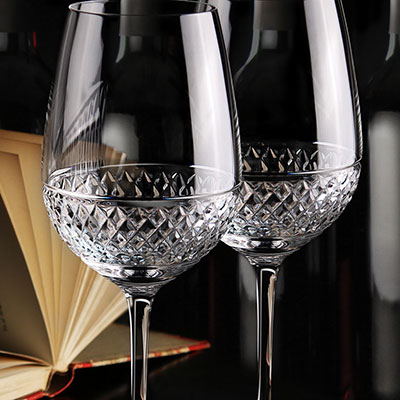 Cashs Ireland, Cooper Cabernet, Merlot, Crystal Red Wine Glasses, Pair