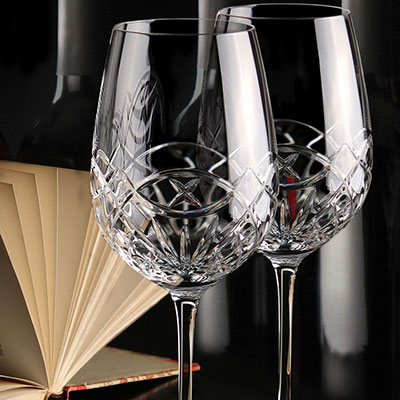Cashs Ireland, Celtic Ring Red Wine Cabernet Wine Glasses, Pair
