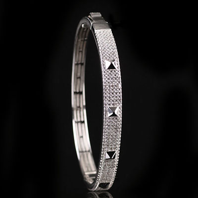 Cashs Ireland, Sterling Silver Crystal Pave Rock'n'Roll Hinged Bracelet
