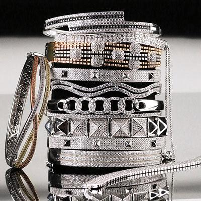 Cashs Ireland, Sterling Silver Crystal Pave Rock'n'Roll Soft Bracelet