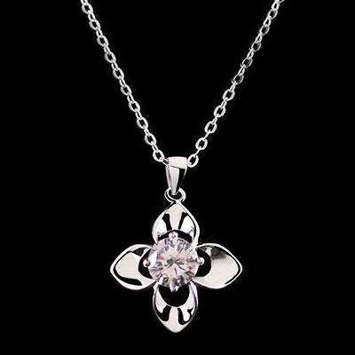 Cashs Ireland, Crystal and Sterling Silver Irish Rose Solitaire Necklace