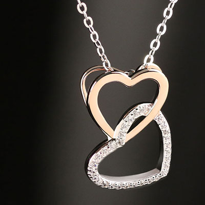 Cashs Ireland, Sterling Silver and Gold Happy Hearts Pendant Necklace