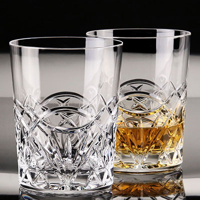 Cashs Ireland, Celtic Ring Crystal DOF Tumbler Single Malt Whiskey Glass, Pair