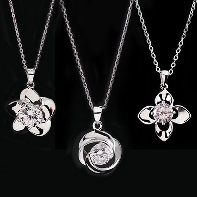 Cashs Ireland, Three Sisters, Sterling Silver Irish Rose Necklace Set