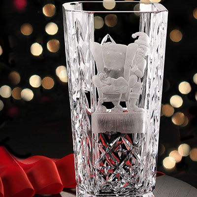 Cashs Crystal Art Collection, Santa Shhh! Vase