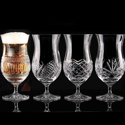 Cashs Ireland Craft Beer Ale Crystal Glasses, Mixed Patterns Set of Four