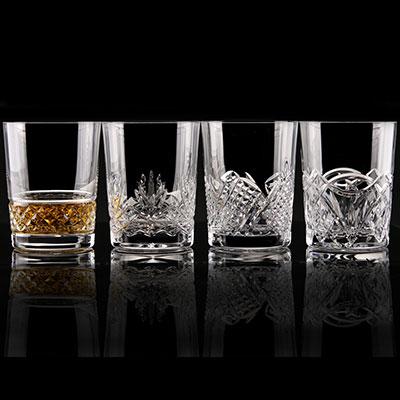 Cashs Ireland, Single Malt Whiskey Mixed Patterns, Set of Four Crystal Glasses