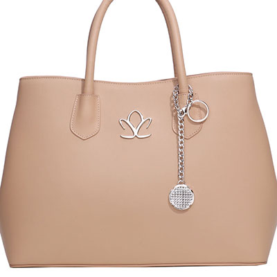 Cashs Ireland, Top Grain Leather Keena Beige Handbag with Kerry Crystal Charm