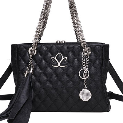 Cashs Ireland, Top Grain Leather Kerry Handbag, Black with Kerry Crystal Charm