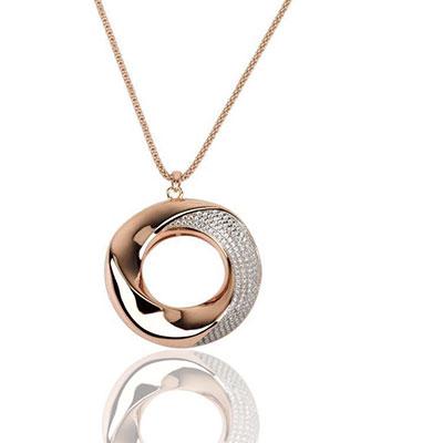 Cashs Ireland Bond 18k Gold Pendant Circle Necklace, Large