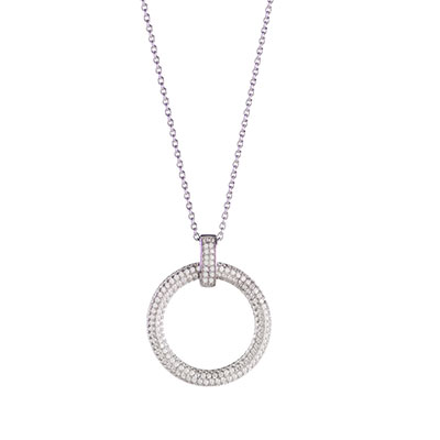 Cashs Ireland, Clarice Circle Pendant Necklace, Sterling Silver Pave