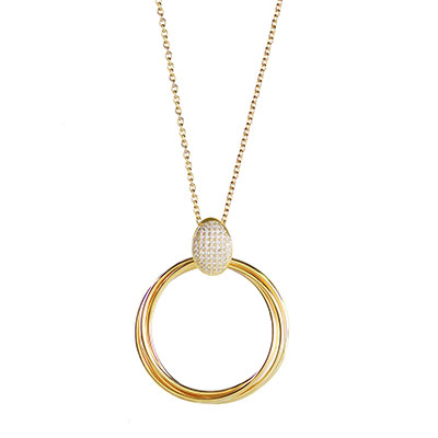 Cashs Ireland, Twist 18k Gold and Crystal Pendant Necklace