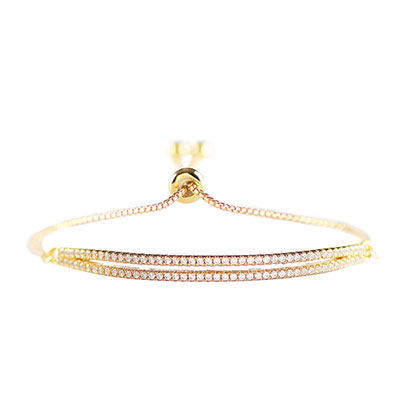 Cashs Ireland, Elyse Crystal and Gold Pave Pull Up Bracelet