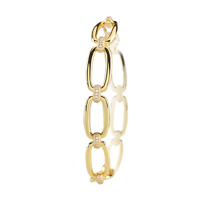Cashs Ireland, Abby Gold and Crystal Chain Link Bracelet