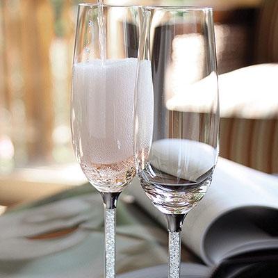 Swarovski Crystalline Toasting Crystal Flutes, Pair