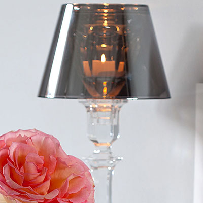 Baccarat Crystal, Our Fire Crystal Candleholder with Gold Shade