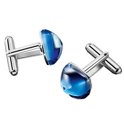 Baccarat Crystal Medicis Cufflinks Sterling Silver Blue Riviera