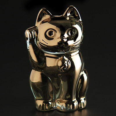 Baccarat Crystal, Lucky Cat, Gold