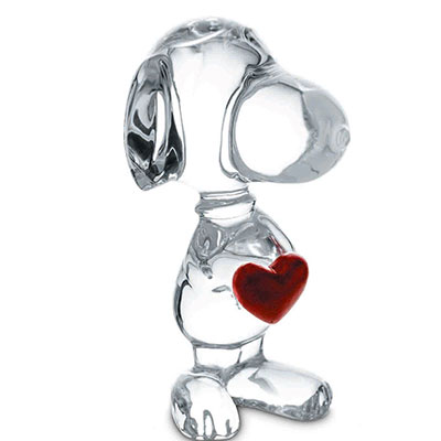 Baccarat Crystal, Snoopy Holding Heart
