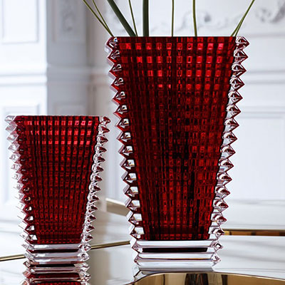 Baccarat Crystal, Eye Small Rectangular Crystal Vase, Red