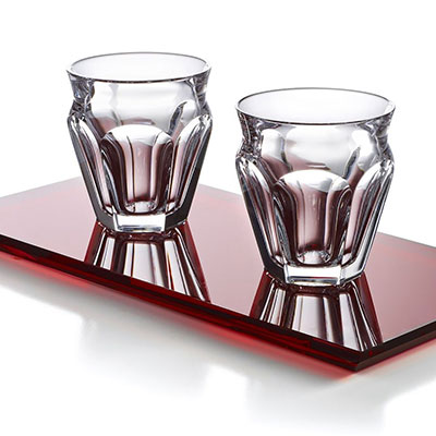 Baccarat Crystal, Harcourt Cafe Coffee Set with Red Tray