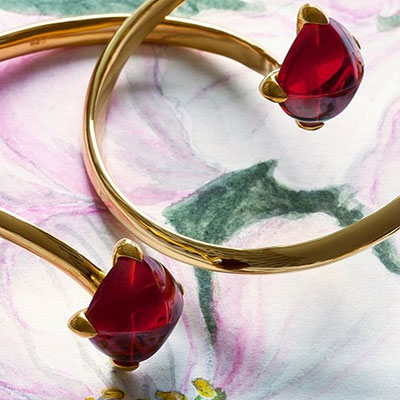 Baccarat Crystal Medicis You and Me Bracelet, Red Mirror and Gold Vermeil