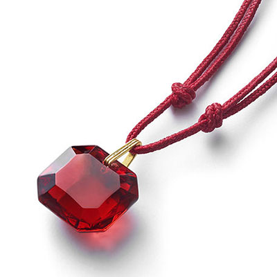 Baccarat Crystal Marie-Helene De Taillac Pendant Necklace Vermeil Gold Red