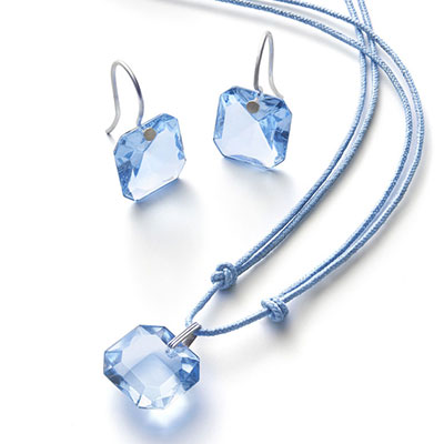 Baccarat Crystal Par Marie Helene De Taillac Light Blue Pendant, Silver Necklace