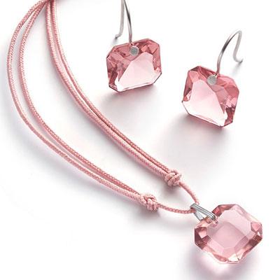 Baccarat Crystal Par Marie Helene De Taillac Light Pink Pendant, Silver Necklace
