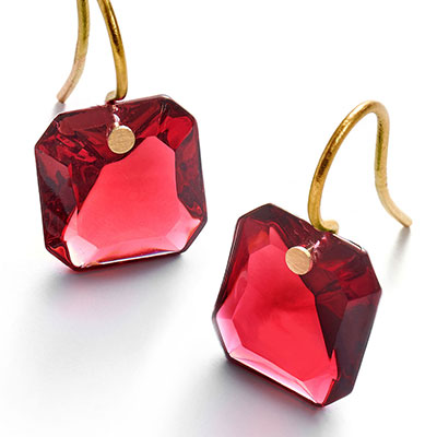 Baccarat Crystal Par Marie Helene De Taillac Red Earrings, Pair